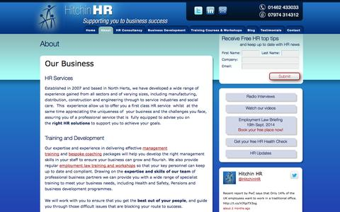 Screenshot of About Page hitchinhr.co.uk - About — Hitchin HR - captured Sept. 30, 2014