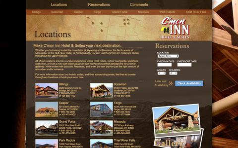 Screenshot of Contact Page Locations Page cmoninn.com - C'mon Inn Hotel & Suites Official Website | Locations - captured July 3, 2018