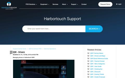 Screenshot of Support Page harbortouch.com - QSR - Drivers : Harbortouch Support Center - captured Oct. 9, 2018