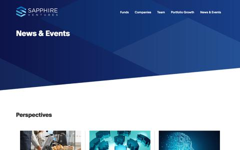 Screenshot of Press Page sapphireventures.com - News & Events - SAPPHIRE Ventures - captured Jan. 26, 2019