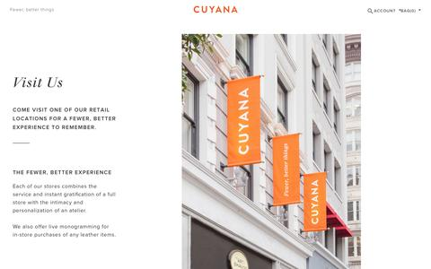 Screenshot of Locations Page cuyana.com - Visit Us   Cuyana - captured March 18, 2016