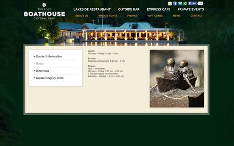 Screenshot of Hours Page thecentralparkboathouse.com - The Loeb Boathouse Central Park - captured Nov. 3, 2014
