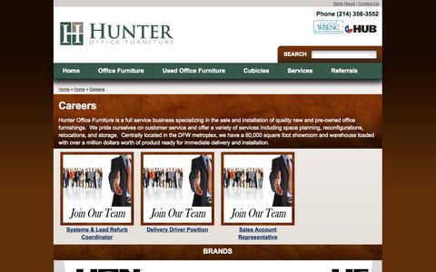 Screenshot of Jobs Page hunterofficeus.com - Careers - Hunter Office Furniture - captured Oct. 1, 2014