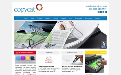 Screenshot of Home Page copycatds.co.uk - Copycat Document Solutions - Photocopiers in Lincolnshire, South Yorkshire & Nottinghamshire - Copycat Document Solutions - Sales, Repairs, Service, Rental and Leasing Photocopiers. - captured Oct. 3, 2014