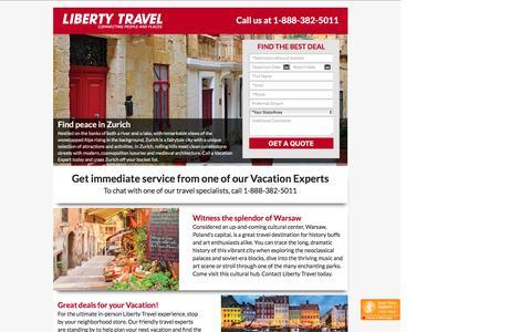 Screenshot of Landing Page libertytravel.com - Liberty Travel ® - America's Vacation Experts - captured Aug. 30, 2016