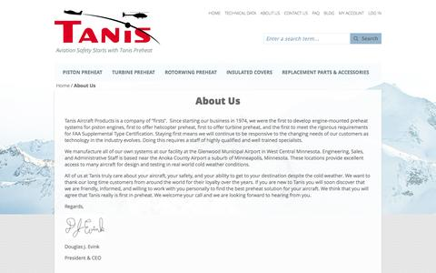 Screenshot of About Page tanisaircraft.com - About Us - captured Nov. 5, 2014