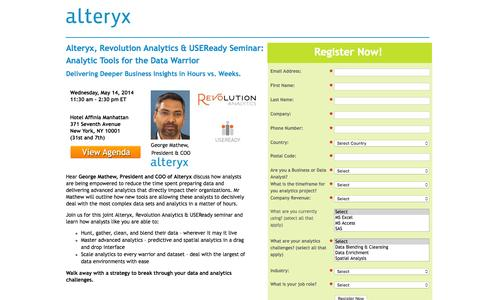 Screenshot of Landing Page alteryx.com - Analytic Tools for the Data Warrior - captured May 10, 2016
