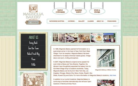 Screenshot of About Page magnoliabakery.com - About Us - Magnolia Bakery - captured Aug. 20, 2018