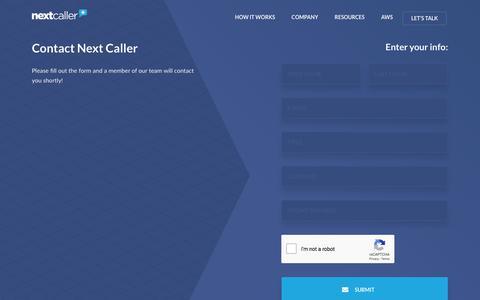 Screenshot of Contact Page nextcaller.com - Contact Us - Next Caller - captured Nov. 21, 2019