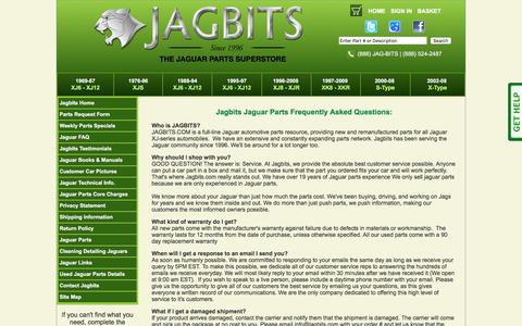 Screenshot of FAQ Page jagbits.com - Frequently Asked Questions from Jagbits Jaguar Parts - captured Feb. 11, 2016