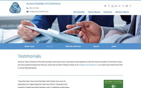 Screenshot of Testimonials Page aurorachamber.on.ca - Testimonials | Aurora Chamber of Commerce - captured Oct. 9, 2017