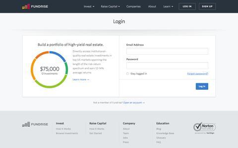 Screenshot of Login Page fundrise.com - Login   Fundrise - captured June 16, 2015