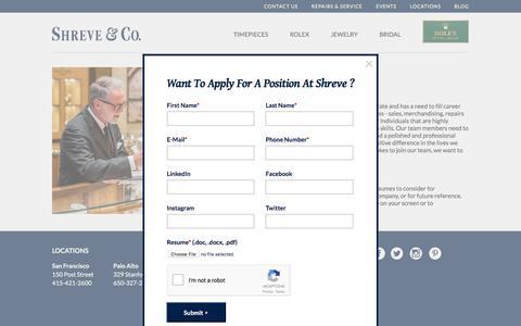 Screenshot of Jobs Page shreve.com - Careers - Shreve - captured Oct. 27, 2017
