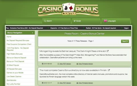 Screenshot of Press Page casinobonuscenter.com - Press Room - CasinoBonusCenter.com - captured Nov. 4, 2014