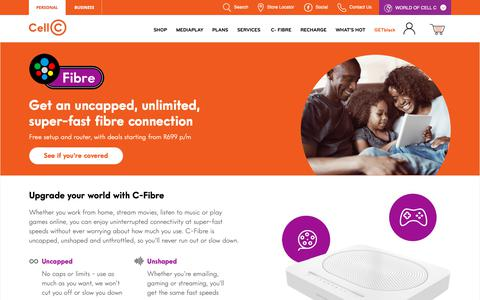 Screenshot of Pricing Page cellc.co.za - C-Fibre Fibre to the Home - Cell C - captured Dec. 7, 2018