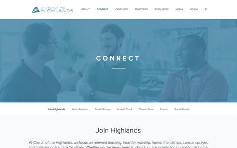 Screenshot of Signup Page churchofthehighlands.com - Connect | Church of the Highlands - captured July 13, 2016