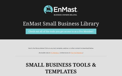 Screenshot of Signup Page enmast.com - Small Business Tools   EnMast Small Business Library - captured July 19, 2018