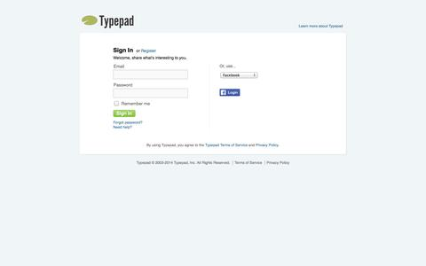 Screenshot of Login Page typepad.com - Typepad - Sign in to your account - captured Nov. 1, 2014