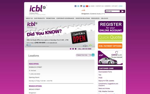 Screenshot of Locations Page icbl.com - Locations | ICBL - captured Sept. 30, 2014
