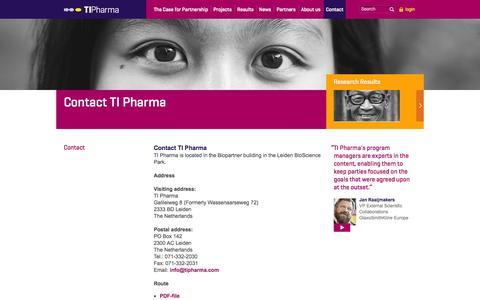 Screenshot of Contact Page tipharma.com - Contact: TI Pharma - captured Oct. 3, 2014