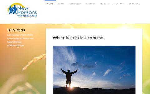 Screenshot of Home Page newhorizonscounselingcenter.com - New Horizons Counseling Center | - captured Feb. 16, 2016