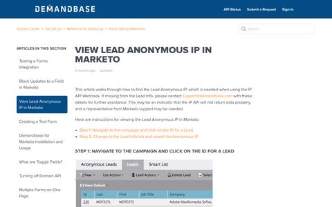 Screenshot of Support Page demandbase.com - View Lead Anonymous IP in Marketo – Success Center - captured Nov. 6, 2019