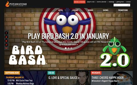 Screenshot of Home Page paysbig.com - Potawatomi Hotel & Casino in Milwaukee, Wisconsin - captured Jan. 14, 2016