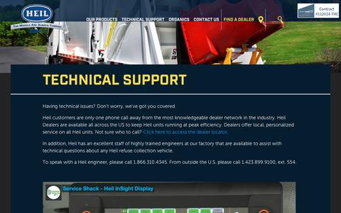 Screenshot of Support Page heil.com - Garbage Truck Body Technical Support   Heil - captured Sept. 28, 2018