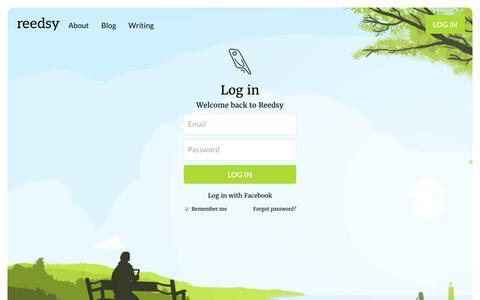 Screenshot of Login Page reedsy.com - Log in | Reedsy - captured Feb. 3, 2016