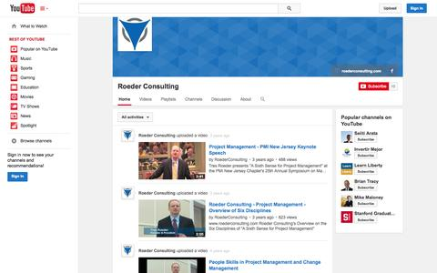 Screenshot of YouTube Page youtube.com - Roeder Consulting  - YouTube - captured Nov. 5, 2014