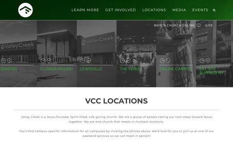 Screenshot of Locations Page valleycreek.org - Valley Creek Church |   Locations - captured Oct. 18, 2018