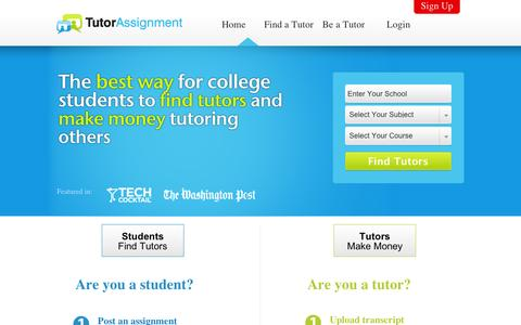 Screenshot of Home Page Privacy Page Site Map Page Terms Page tutorassignment.com - Tutor Assignment - Home - captured Sept. 10, 2014