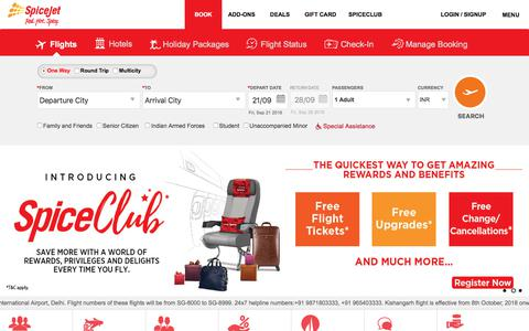 Screenshot of Home Page spicejet.com - SpiceJet - Flight Booking for Domestic and International, Cheap Air Tickets - captured Sept. 21, 2018