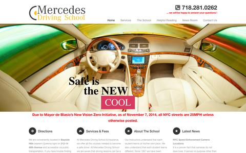 Screenshot of Home Page mercedesdrivingschool.com - Mercedes Driving School | Bayside, Fresh Meadows, Whitestone, Flushing, Douglaston, Astoria - captured June 17, 2015