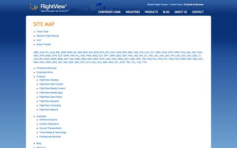 Screenshot of Site Map Page flightview.com - FlightView Inc. - Site Map - captured Sept. 19, 2014