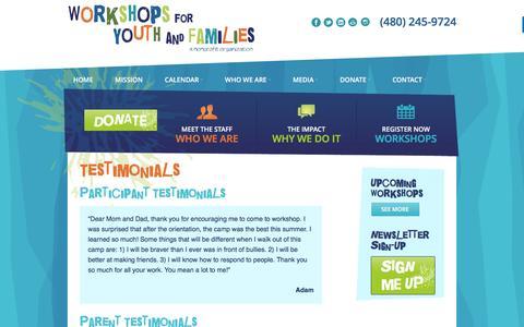 Screenshot of Testimonials Page workshopsaz.org - Workshops for Youth and Families Parent Testimonials - captured Nov. 30, 2016