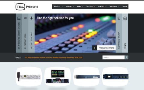 Screenshot of Home Page tslproducts.com - TSL Products. Broadcast Production Equipment - captured Oct. 7, 2014