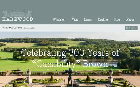 Screenshot of Home Page harewood.org - Harewood House – Enjoy great family days out and unique art exhibitions in one of Englands best historic houses. - captured Jan. 17, 2016