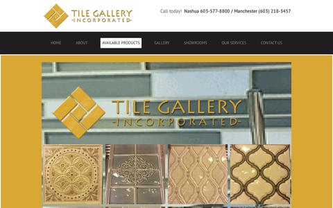 Screenshot of Products Page tilegalleryusa.com - Products | Bath Tile Bedford, NH  & Amherst, NH | Tile Gallery Incorporated - captured July 6, 2017