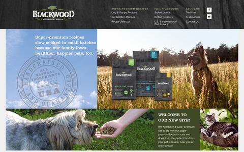 Screenshot of Home Page blackwoodpetfood.com - Blackwood Pet Food | Home - captured Sept. 30, 2014