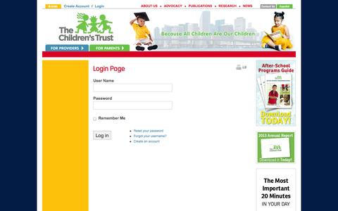 Screenshot of Login Page thechildrenstrust.org - Login - The Children's Trust - captured Oct. 7, 2014