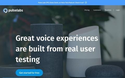 Screenshot of Home Page pulselabs.ai - Pulse Labs - captured May 23, 2019