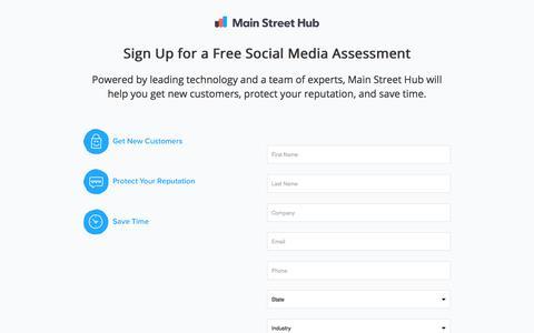 Screenshot of Landing Page mainstreethub.com - Social Media Content from Main Street Hub - captured Oct. 28, 2017
