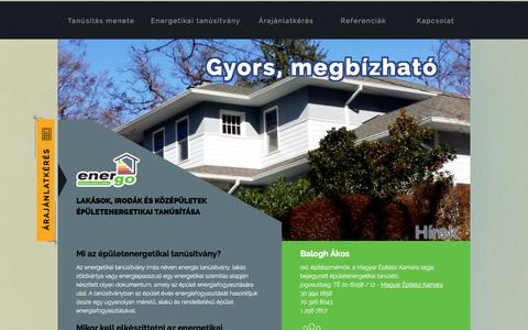 Screenshot of Home Page energo.hu - Energo.hu energetikai tanúsítvány, energiatanusítvány - captured Oct. 3, 2014