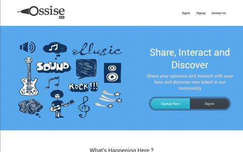 Screenshot of Home Page ossise.com - Ossise Inc. |  One Goal. One Passion. - Landing Page - captured Sept. 22, 2014