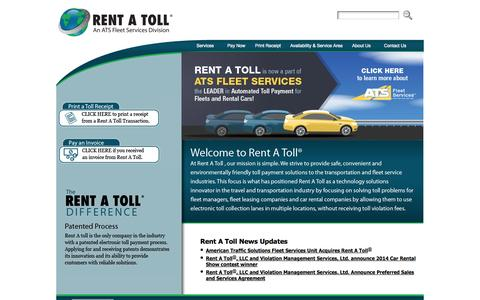 Screenshot of Home Page rentatoll.com - Rent A Toll - captured Sept. 30, 2014