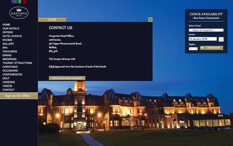 Screenshot of Contact Page hastingshotels.com - Contact Us | Luxury Hotels Northern Ireland | Hastings Hotels - captured Jan. 14, 2016
