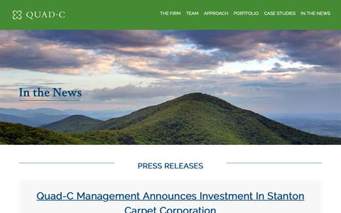 Screenshot of Press Page quadcmanagement.com - In the News - Quad-C Management | Experienced Investment Partners - captured Sept. 27, 2018