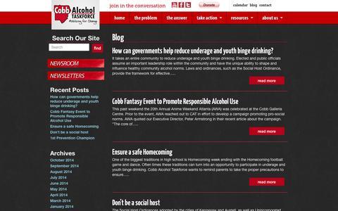 Screenshot of Blog cobbat.org - Blog   Cobb Alcohol Taskforce - captured Oct. 2, 2014