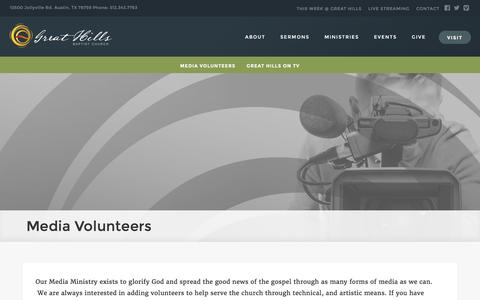 Screenshot of Press Page ghbc.org - Media - Great Hills Baptist Church - Austin, TX - captured Nov. 12, 2016